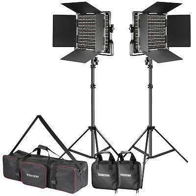Neewer Photo 2-Pack Dimmable Bi-color 660 LED Video Light an