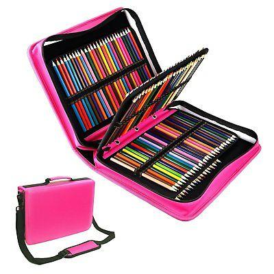 YOUSHARES 180 Slots Colored Pencil Case - PU leather Handy L