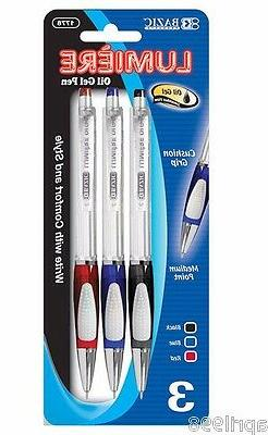 BAZIC Lumiere Assorted Color Oil-Gel Ink Retractable Pen w/