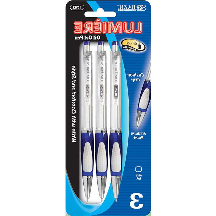 Bazic Lumiere Blue Retractable Oil Gel Ink Pen W/ Grip , Cas