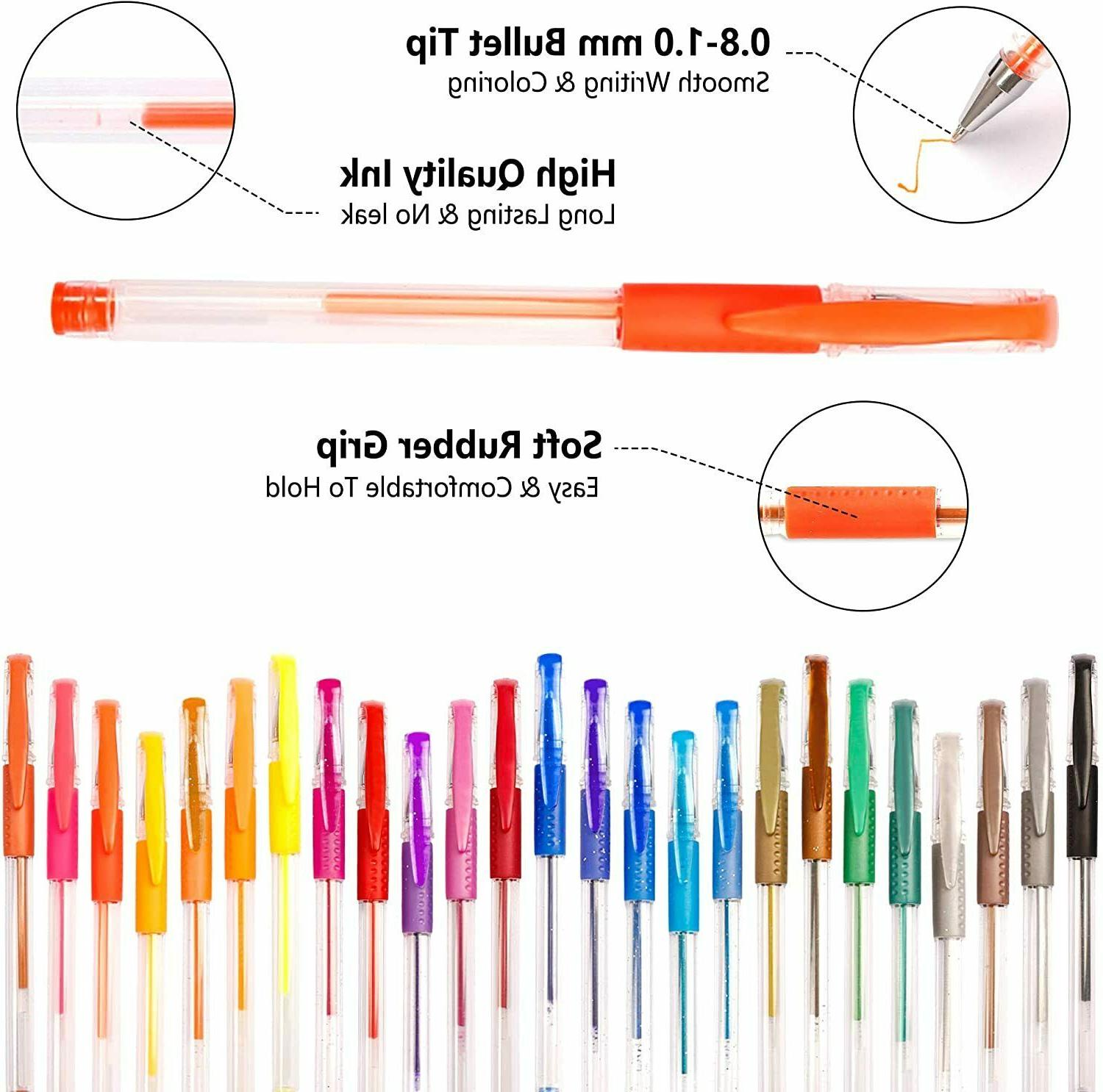 Colored Gel Pens Pack Books Kids Drawing Adult Gift