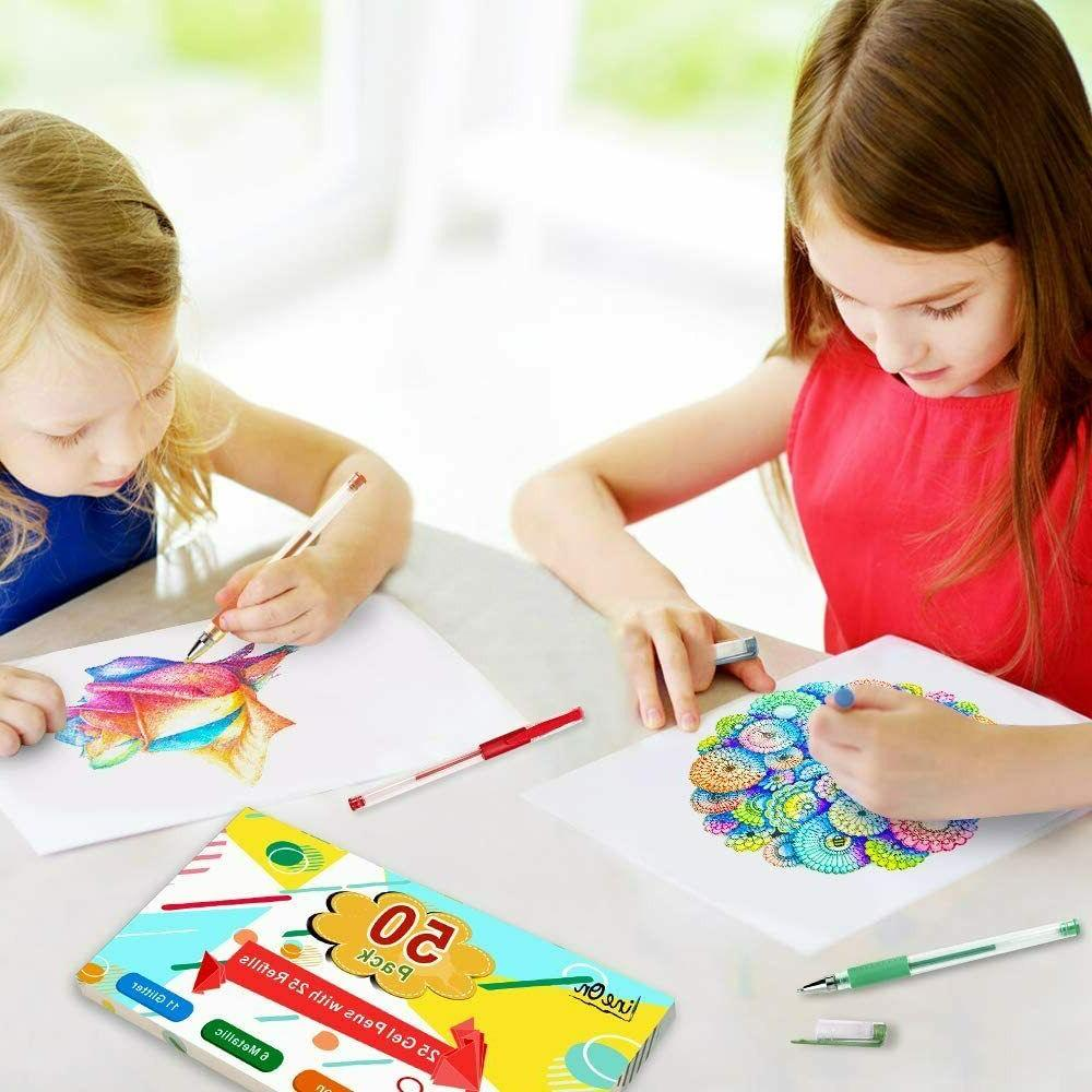 Colored Gel Pens Pack For Coloring Books Kids Crafting Adult Gift