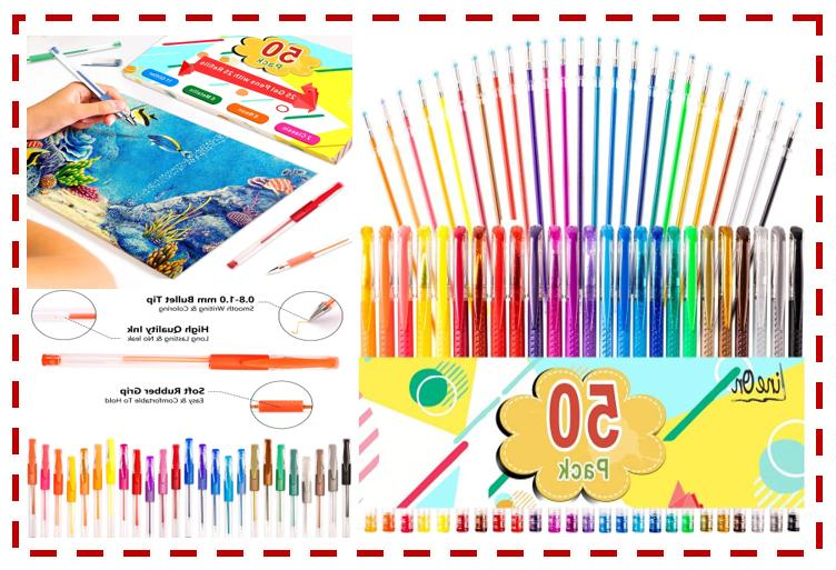 colored gel pens 50 pack for coloring