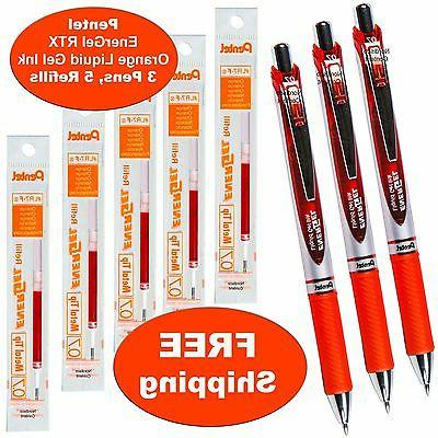 Pentel EnerGel RTX Orange Liquid Gel Ink, 0.7mm, 3 Pens with