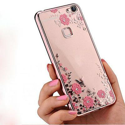 fashion 3d bling strass patterned back silicone