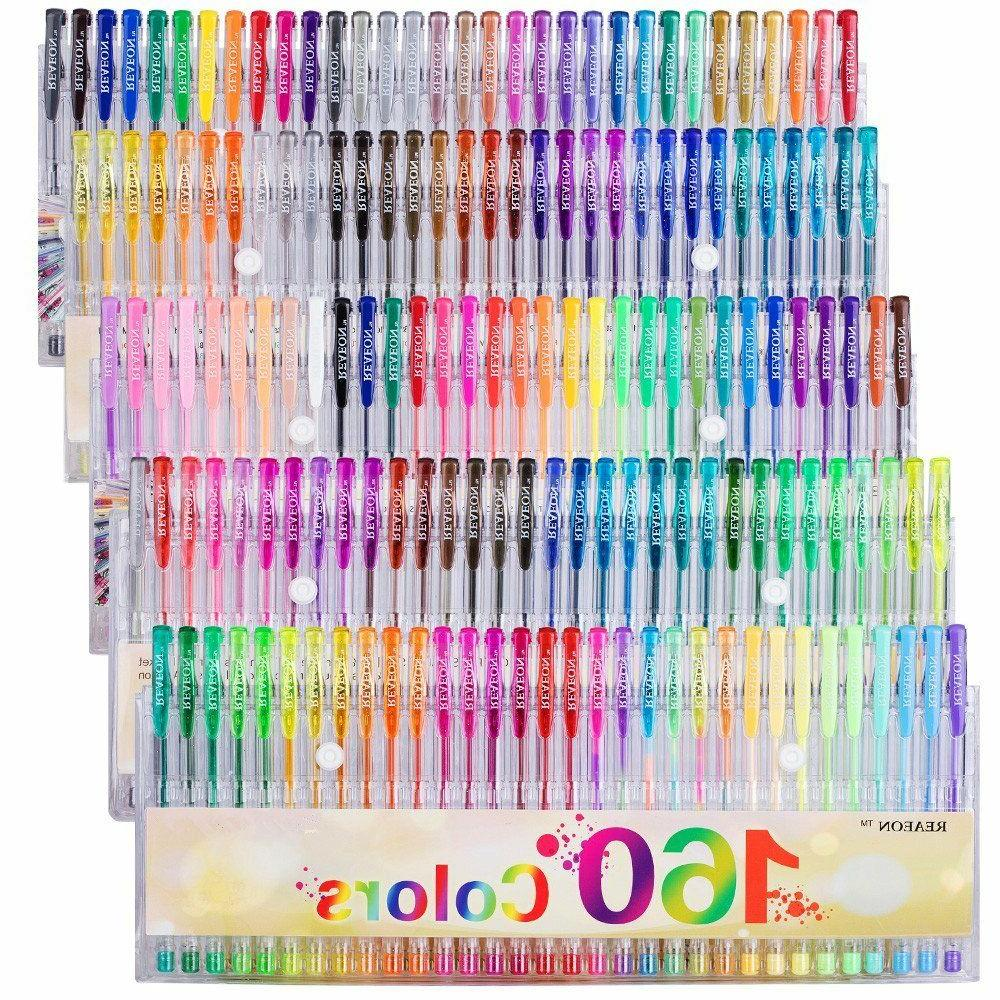 Gel 160 Set Metallic Neon Colors for Coloring Books