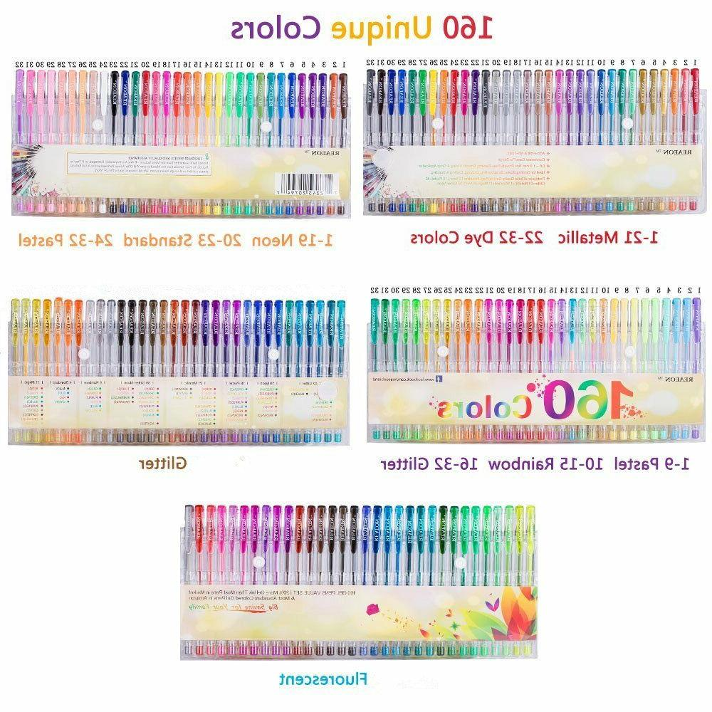 gel colors pens 160 set glitter metallic