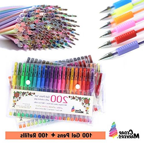 Cedar Markers Gel 200 Set 100 Pens Plus 100 Pens with Grip. Glitter, Metallic, Pastel No Duplicates. for Bullet Journal.