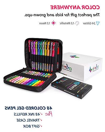 ColorIt Adult Books – Set Includes 48 Pens: Glitter, Metallic, Neon 48 96 Total