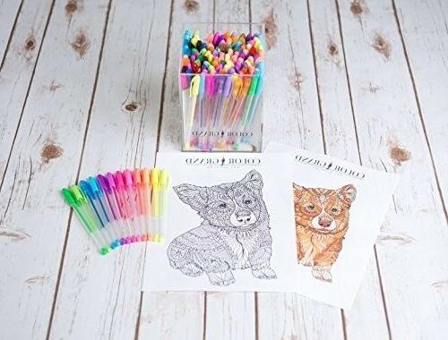 Gel Pens Coloring Books Glitter Drawing Art Markers New
