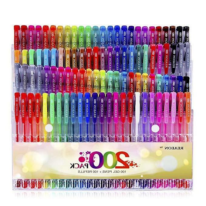 Gel Pens 200 Colors For Glitter Books Writing Drawing