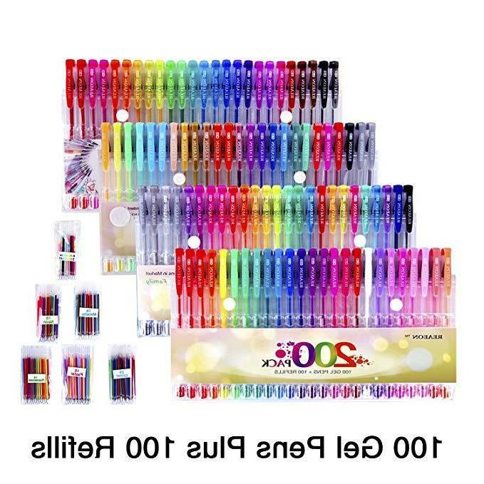 Gel Pen 200 Colors For Adult Glitter Writing Drawing