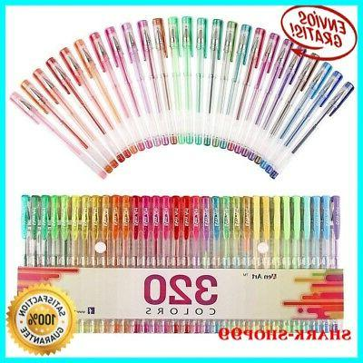 Gel Pens Pen Set 320 Adult Glitter Coloring Writing Drawing