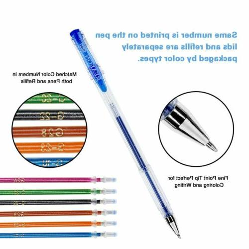 Reaeon Pens for Adult Coloring 100 Color Gel Markers 100
