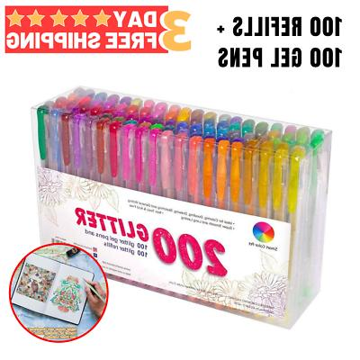 Gel Pens Set 200 Colors Glitters For Adult Coloring Books Dr