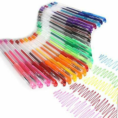 Gel pens Set Colored with 24 Glitter Coloring Books Drawing