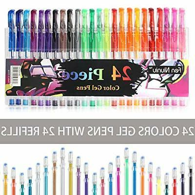 gel pens set 24 colored with 24