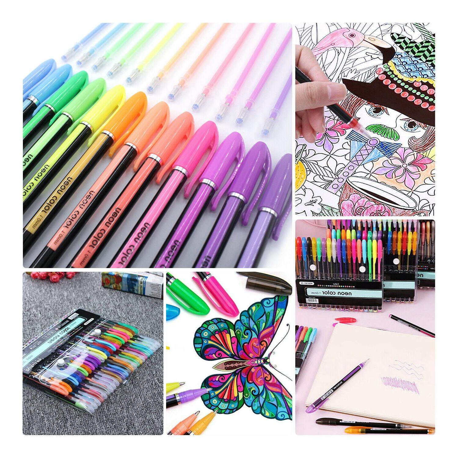 Gel Pens 48 Colored For Books Drawing Marker Kids