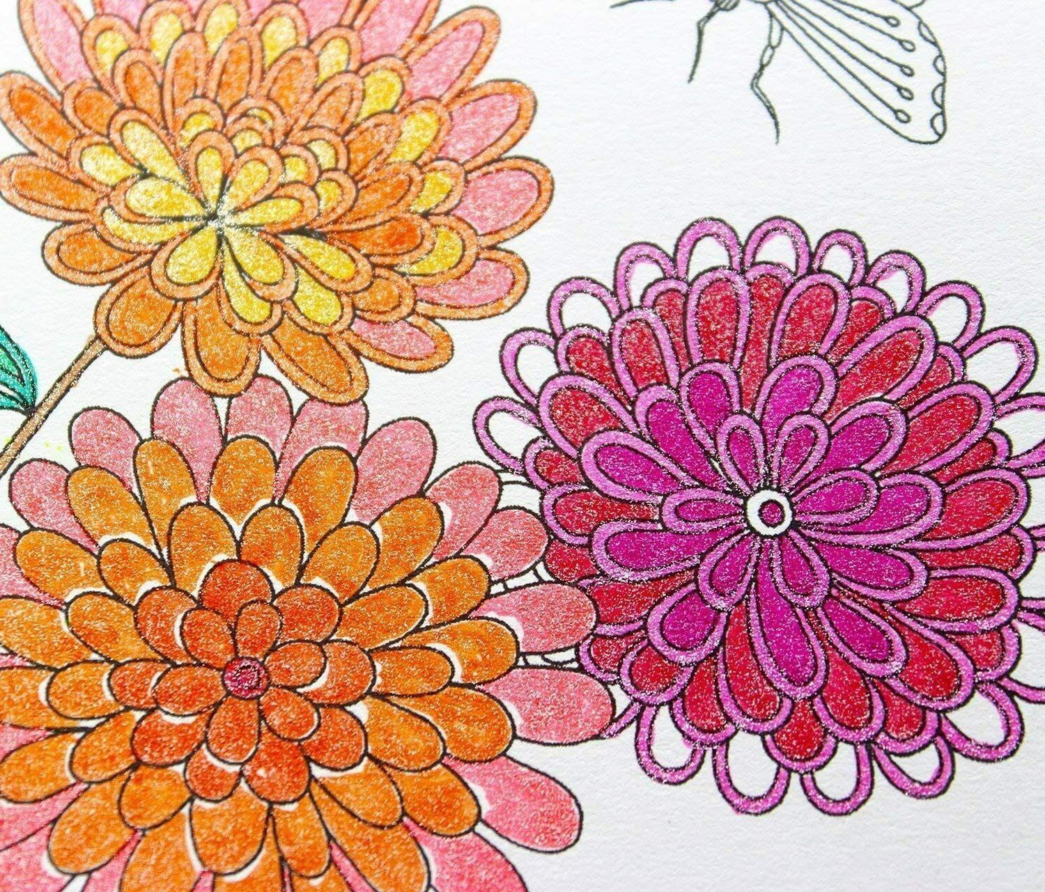 Glitter Pens Set 24 Colored Pen with Refills Adult Coloring