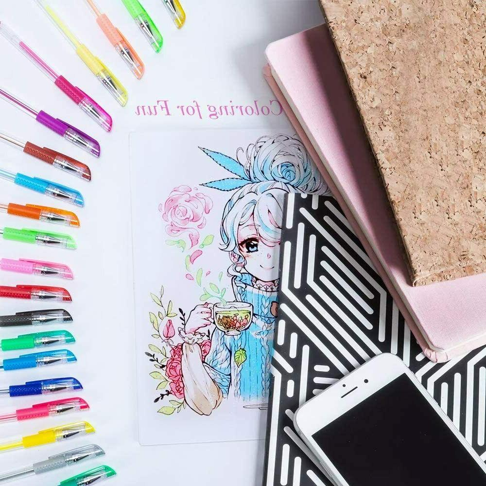 Glitter Gel Pens 24 with Adult Coloring