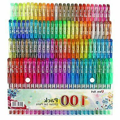 Glitter Gel Pen by Aen Art Set of 100 Unique Colors Glitter
