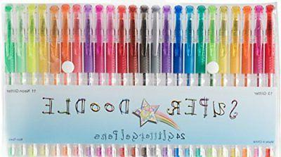 24 Glitter Colors Premium Quality Gel Pen Set for Crafting Glitter Gel Pens Super Doodle Scrapbooking and Adult Coloring Books Doodling Drawing