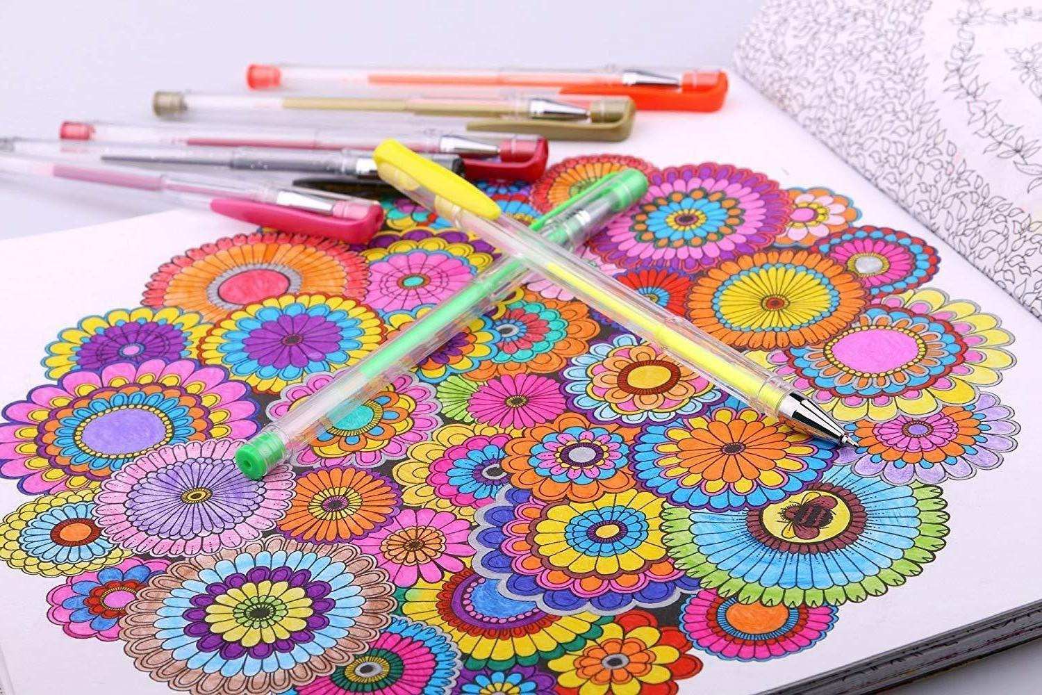 Glitter Pens Set Coloring Books Adult Drawing