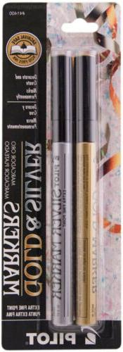 Pilot Gold & Silver Permanent Markers, Extra Fine Point, 2/P
