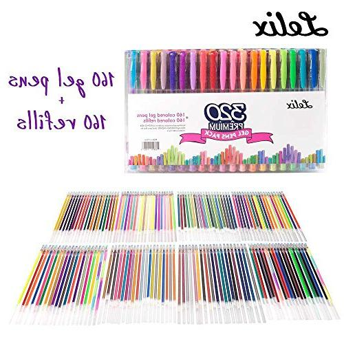 Lelix 320 Colors Pens Gel Pen 160 Refills for Adult Coloring Books Drawing Writing