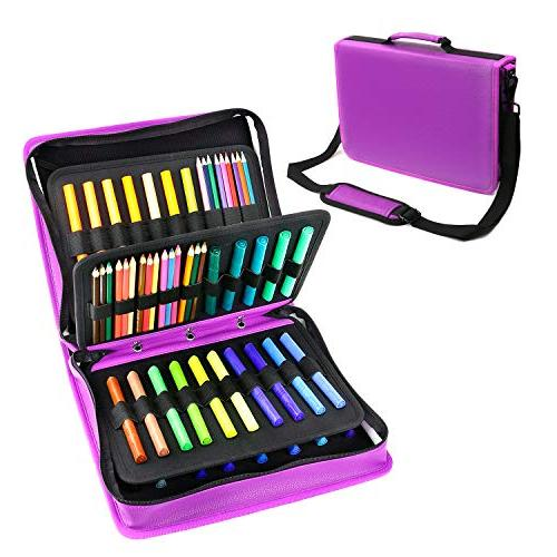 YOUSHARES & Gel Pen Large Slot PU Pencil Case Zipper Holds 180 Colored or 140 for Watercolor Pens(Purple)