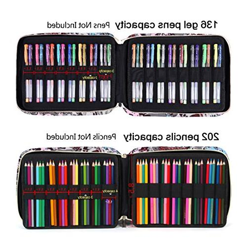 202 Colored Case Gel pens Pen Bag/Marker Organizer Universal Artist use Supply School Zippered Large Capacity Big Fresh