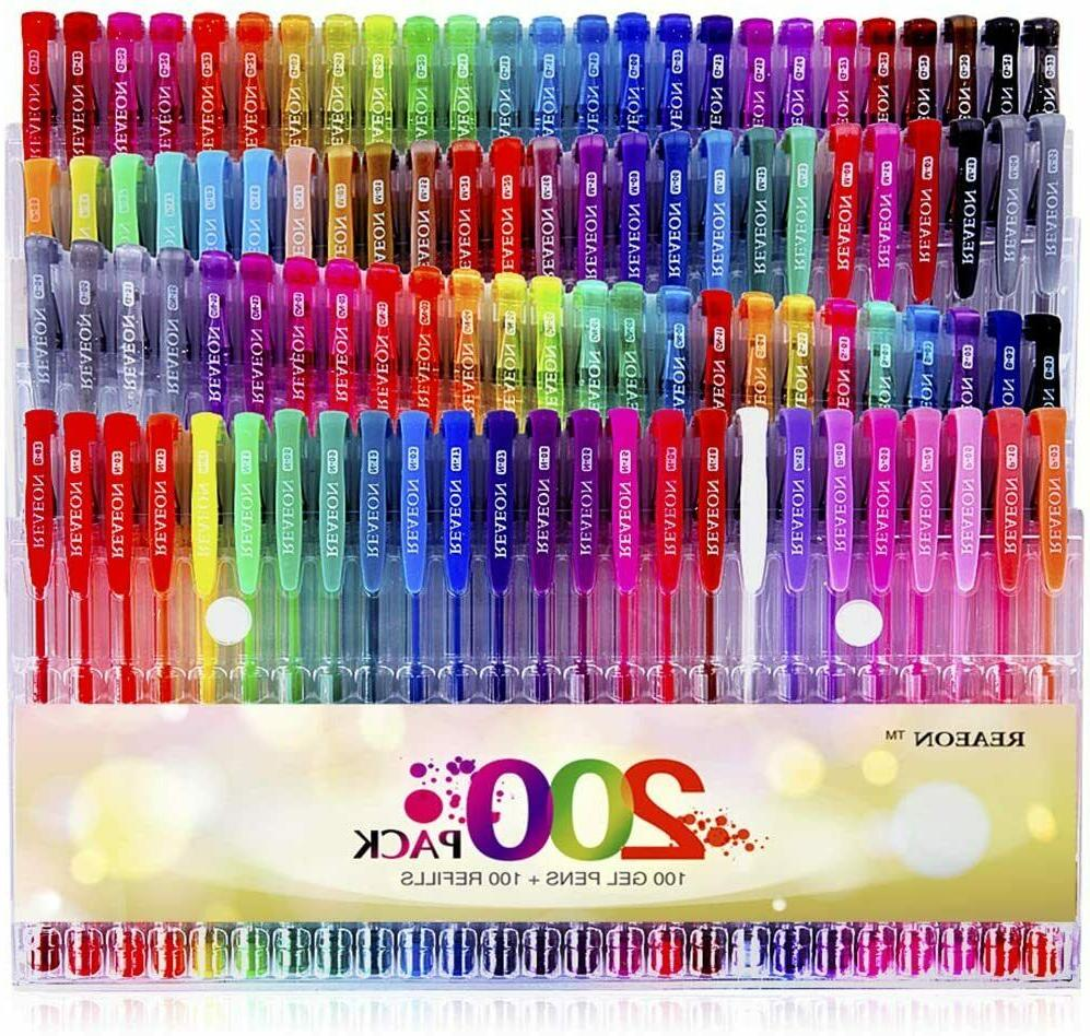 200 Gel Pens 100 Color Gel Markers Plus 100 Refills for Colo
