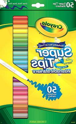 Crayola Super Tips Washable Markers, Assorted Colors, Set of