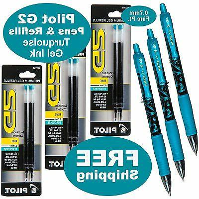 Turquoise Gel Ink, Pilot G2 07 Fine Point, 3 Pens With 3 Pac