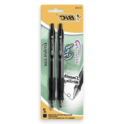 BIC Velocity Gel Pen - 0.7 mm Point Size - Point Style Black Ink - Translucent - 2 / Pack