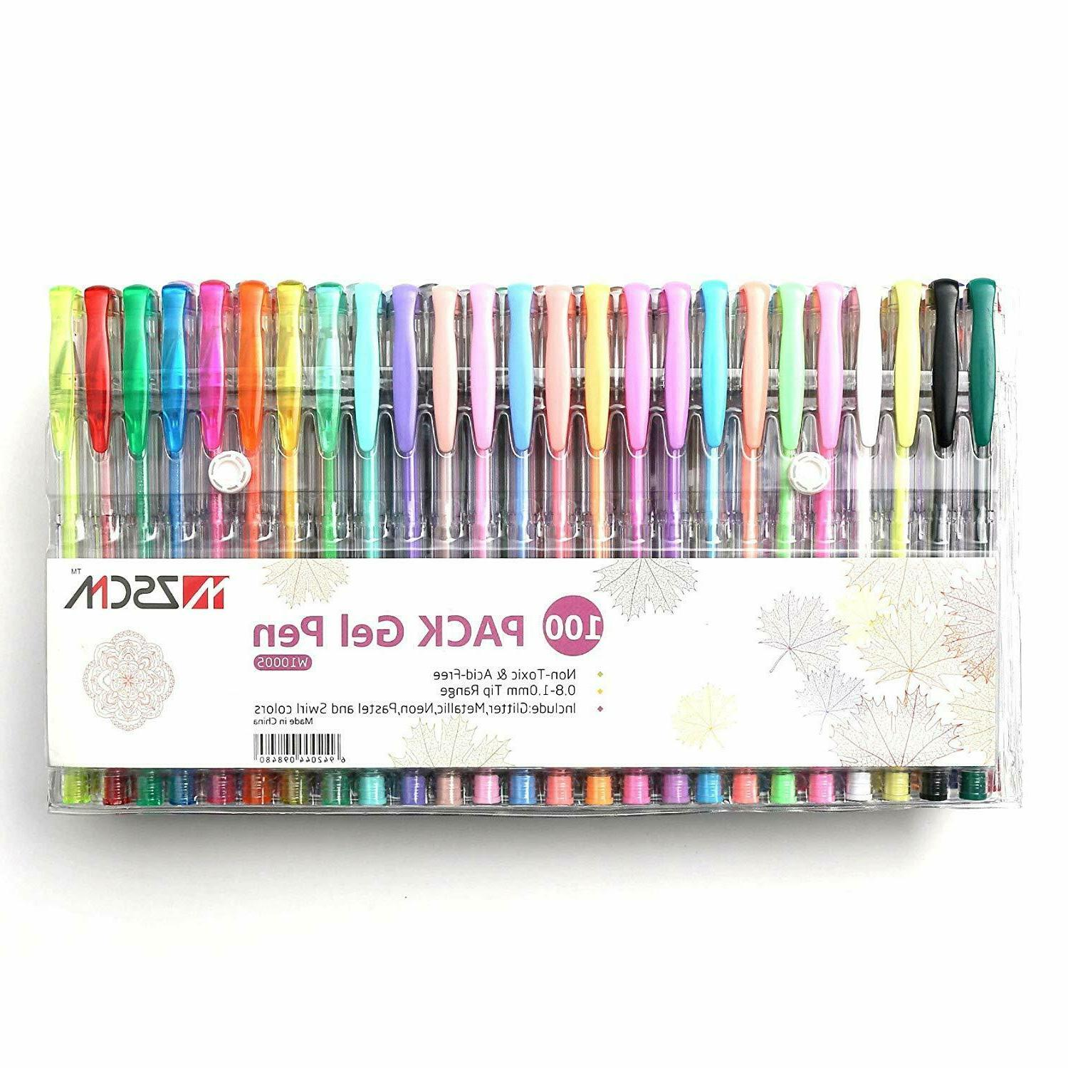 100 Pens Case Coloring Books Markers