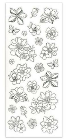 Living In Color Art Therapy Glitter Stickers-Flowers