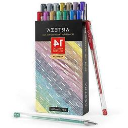 Arteza Metallic Gel Pens 14-Individual-Colors - Triangular G