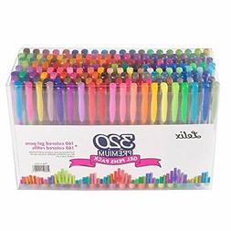 Lelix 320 Colors Gel Pens Set 160 Unique Gel Pen Plus 160 Re