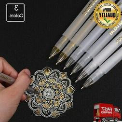 Premium 3 Colors Gel Pen Set - White, Gold and Silver Gel In