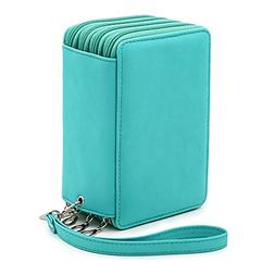 BTSKY PU Leather Colored Pencil Case with Compartments-72 Sl