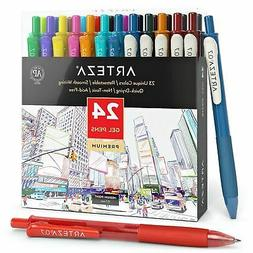 ARTEZA Retractable Gel Ink Pens, Vintage & Bright Colors - S