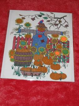 SCARECROW Hand-Colored with Gel / Glitter Pens Art, Picture,
