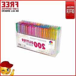 Smart Color 200 Glitter Gel Pens Set 100 Individual Glitter