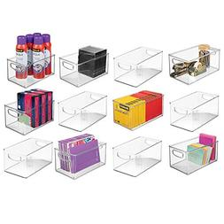 mDesign Stackable Plastic Long Storage Bin Container with Ca