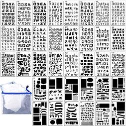 36PCs Letter and Number Stencils DIY Drawing Templates Journ