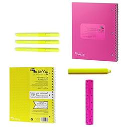 Yoobi Limited edition 2 Pack Subject Spiral Cover Notebook,
