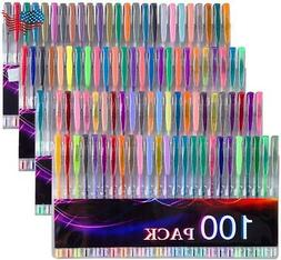Tanmit 100 Coloring Gel Pens Set for Adults Coloring Books-