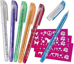 Totally U Tattoo Temporary Pen Gel Set With Stencils 6 Pack