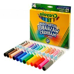 Crayola 12 Ct Ultra-Clean Washable Markers Coloring Pens & M